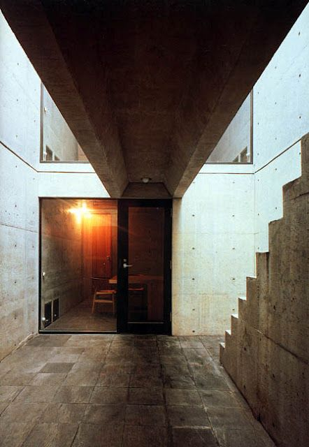 AZUMA House l by Tadao Ando (Japanese Archtiect) l This row house ...