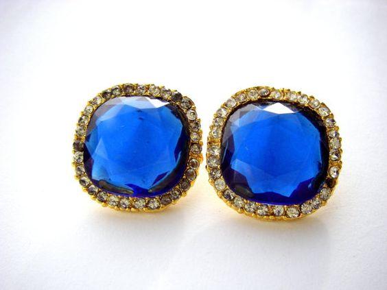GORGEOUS Vintage Blue Rhinestone Stud Earrings