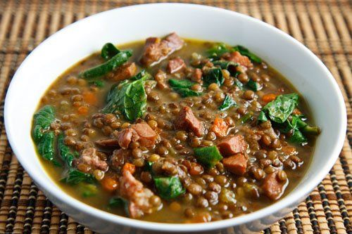 Ham and Lentil Soup. 5 stars. Added more brothe, lentils, and spinach. Fresh thyme was amazing. Bought a smoked Ham shank. Cubed it all, freezing half for later soup. I love pigs, but it's wonderful for providing energy and comfort.  Baked w/ Cornbread. Will make a double batch and freeze for future!