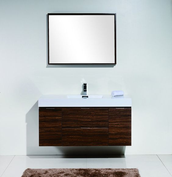 Bliss 48  Walnut Wall Mount Modern Bathroom Vanity   The Vanity Store Canada    48. Pinterest   The world s catalog of ideas