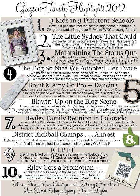 Christmas letter content idea. Another version of the top 10 with photos and headlines with descriptive text.