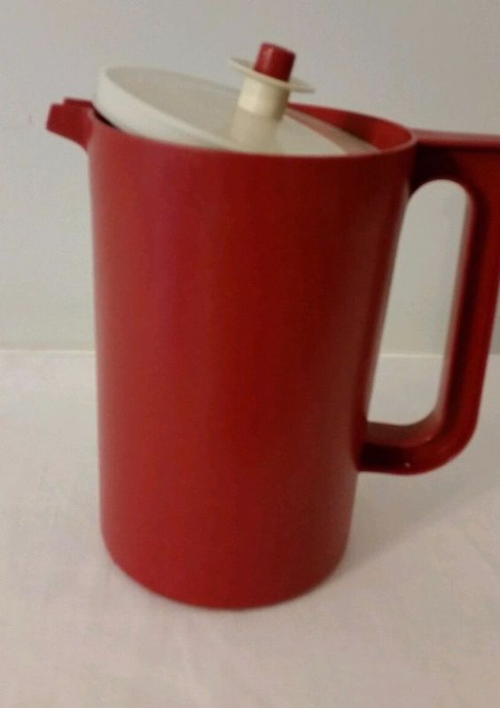Vintage Tupperware 2 Qt.Pitcher Cranberry Red with Push-Button Lid