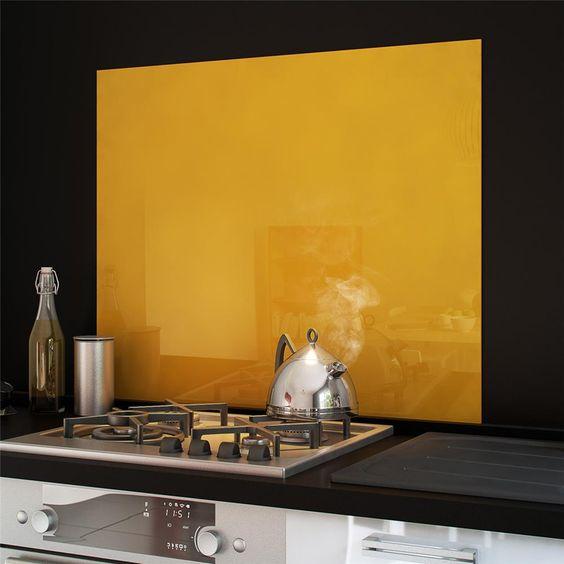 cr dence fond de hotte verre brillant safran 900x750 credence pinterest fils et recherche. Black Bedroom Furniture Sets. Home Design Ideas