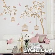 Garden Wall Decal – Tree with Birdcage and Birds
