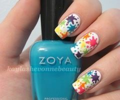 """Paint Splatter Nails!.. @holly, but we can do better than this """"staged"""" splatter paint. lol"""