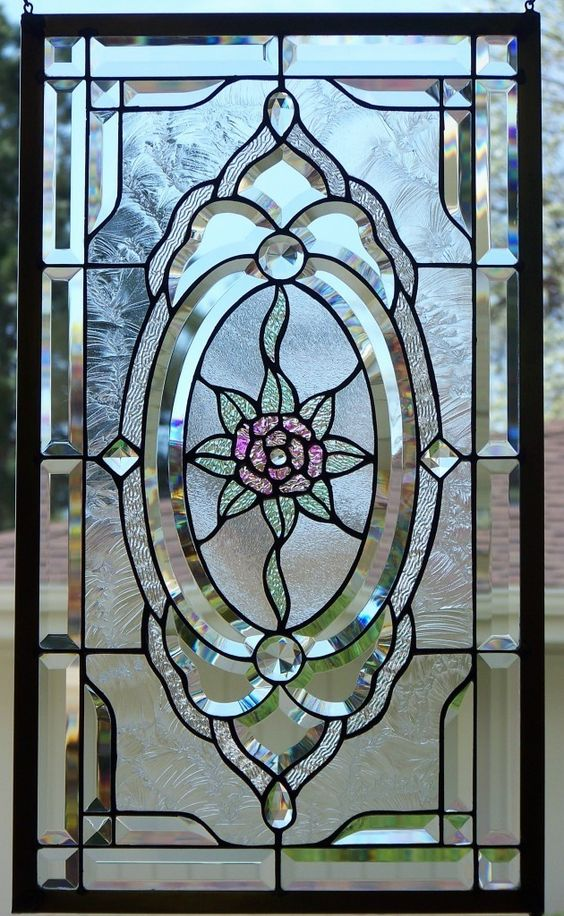 Stained glass windows doors and kitchen cupboards on for Stained glass kitchen windows