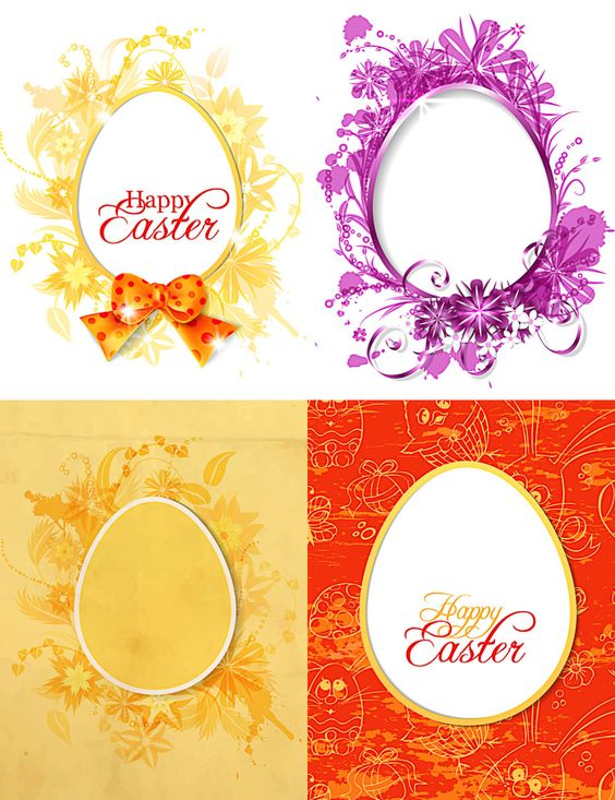 Easter cards with ornate eggs, eggs with very beautiful pattern, floral decorations, bows and ribbons, inscription Happy Easter, made in in orange, red and purple colors.