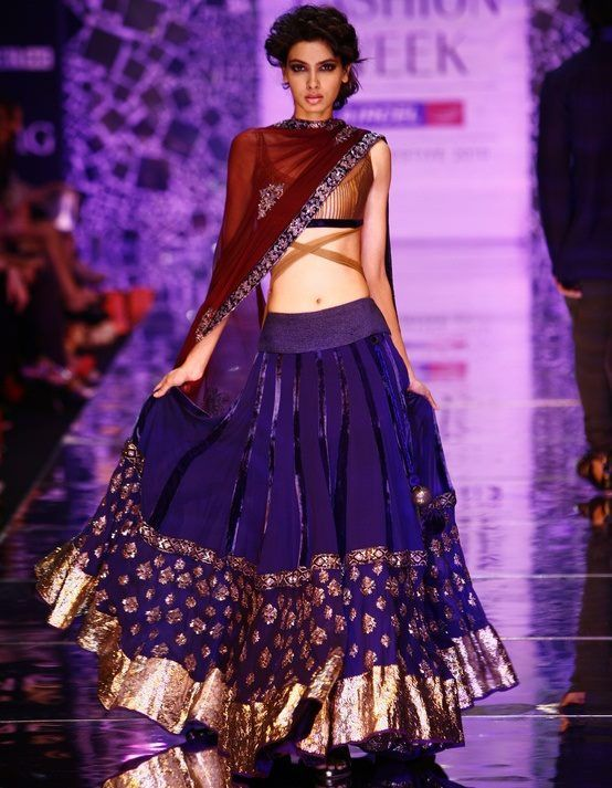 Indian Lehenga Choli Designs For Wedding Royal Blue by Manish Malhotra