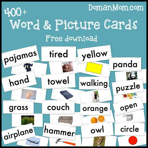 Free Baby Reading Word & Picture Cards (Doman-Inspired)