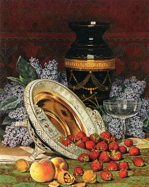 William Mason Brown (1828-1898)  — Still Life with Strawberries and Lilacs   (1019×1280):