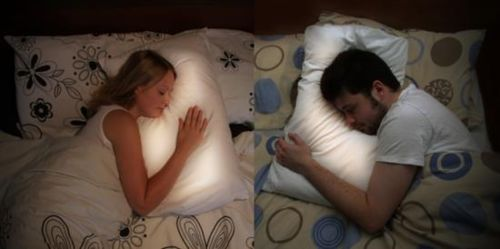 Long Distance Pillows: Scottish designer Joanna Montgomery designed a pillow for couples in long-distance relationships. Each person wears a ring sensor to sleep at night. When one person goes to bed, their lover's pillow begins to glow softly, and you can hear each other's heart beating!    This is so cute @Maryevalyn Wren im so getting you and kyle this before you leave :)))))