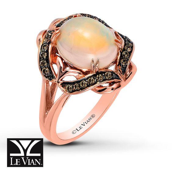 Le Vian Chocolatier® Neopolitan Opal™ Ring 1/6 ct tw Diamonds 14K Strawberry Gold®