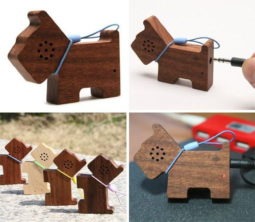 Share your music with friends (or your pets) by plugging your MP3 player into this tiny wooden dog-shaped speaker. Your jack goes right into the dog butt!