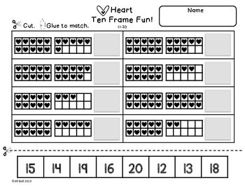 This is a set of 6 ten frame worksheets. Students will practice identifying and showing numbers 1-20 using ten frames. Also included are ten frames and number cards. Perfect for Valentine's Day!