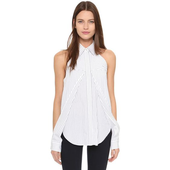 Dion Lee Line II Sleeve Release Shirt ($395) ❤ liked on Polyvore featuring tops, pinstripe, crop top, white top, long sleeve tops, striped sleeve shirt and white stripes shirt