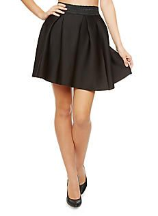 Solid Wide-Pleated Scuba Skirt with Banded Waist,BLACK