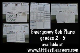 """emergency sub plans. I was like """"oh man, I wish they were for 1st grade"""" then I remembered, """"I teach 2nd grade now!"""" :)"""