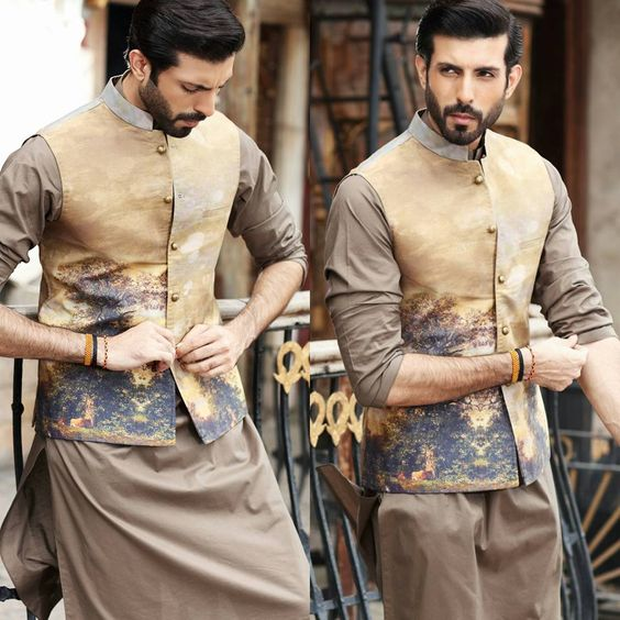 Cedar shalwar kameez with waist coat for wedding