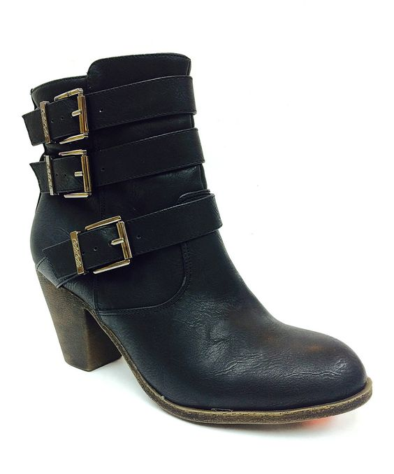 DBDK Fashion Black Buckle Finny Ankle Boot by DBDK Fashion #zulily #zulilyfinds