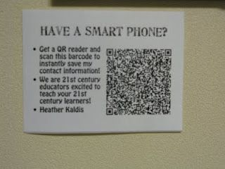 QR codes for each of our doors for Back to School Night. Parents were able to scan the code and recieve tons of information, including phone numbers, conference periods and email addresses. Many other great ideas on her site.