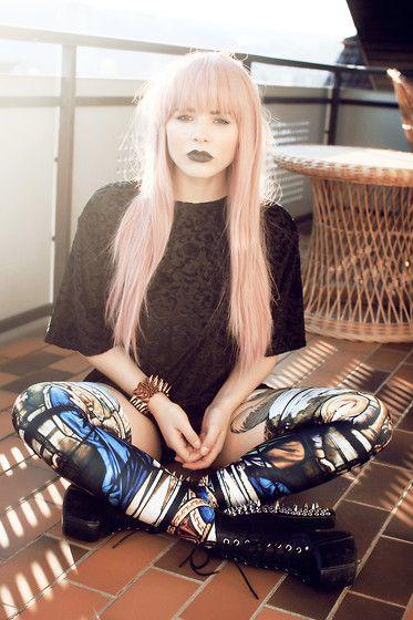 Shirt, Black Milk Clothing Leggin/Suspenders, Shoes