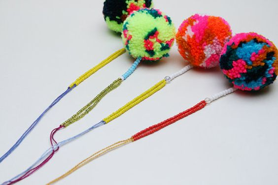 Colourful Pom Pom Necklace one of a kind by kitiyapalaskas, $50.00