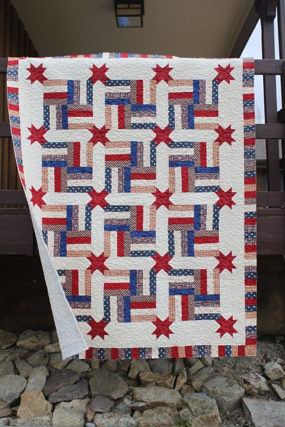 This is a Great look for a Quilts of Valor project. It has the proud red, white, and blue colors but with just a little difference that makes it more unique. (from Stitch by Stitch):