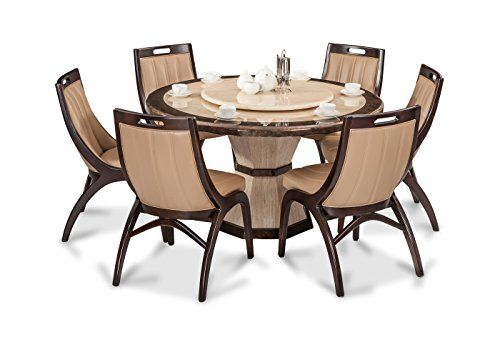 Durian Feng 35404 Six Seater Dining Table Set Beige Circular Dining Table Marble Dining Dining Table Setting