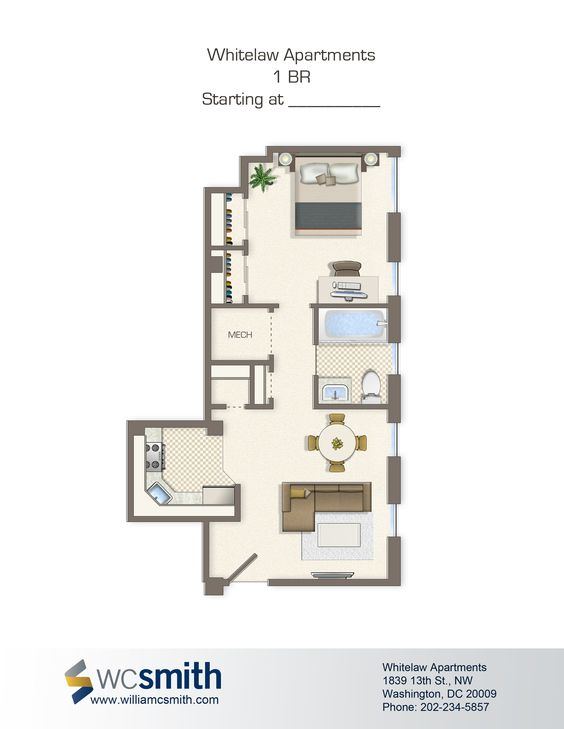 one bedroom floor plan whitelaw in northwest washington