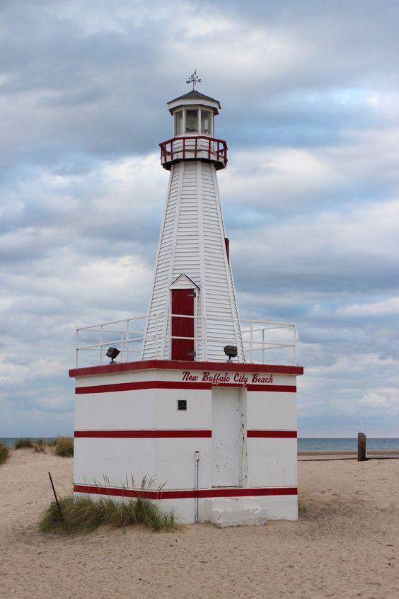 New Buffalo beach lighthouse - Michigan, USA