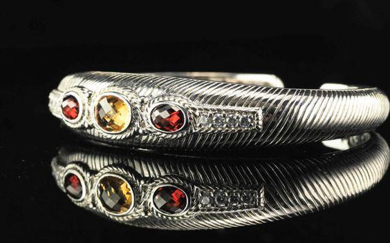 Judith Ripka Citrine Garnet Sterling Silver by SilverStarrs925