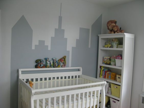 Skyline Mural in a Nursery - #nursery #DIY #wallart: Nurseries Baby, Baby Neutral, Baby S Nursery, Nusery Ideas, Baby Ideas, Nursery Baby, Babies Nursery, Baby City, Ideas Decor