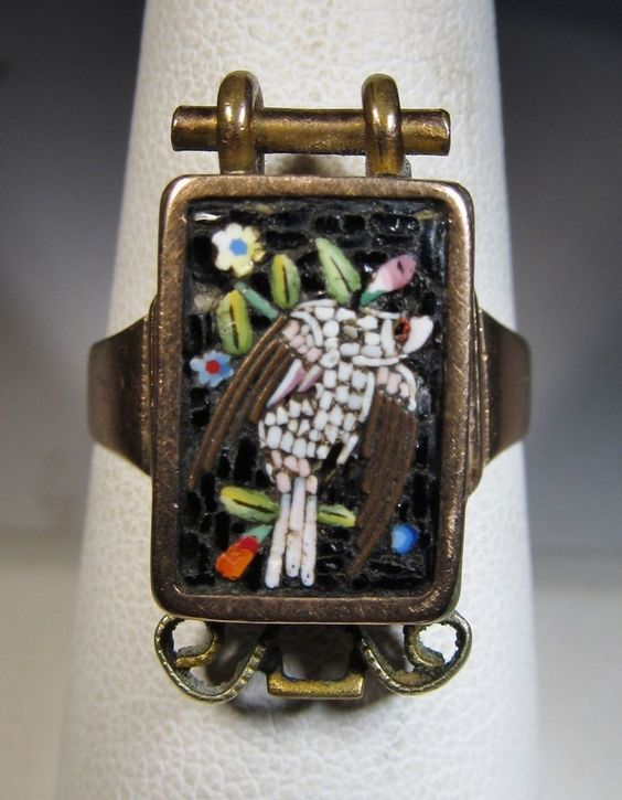 Micro Mosaic Jewelry | Gold Ring 10K Micro Mosaic Rare Bird Design | Micro Mosaics Jewelry...