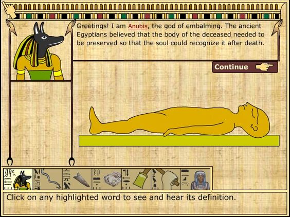 Mummification process online game, suitable for early childhood! My kids are making a mummy craft and this is a great warm up interactive Smart Board lesson!