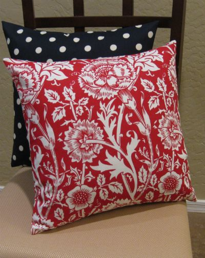Crisp Red and White Mingei Floral Throw Pillow Cover | $15.95