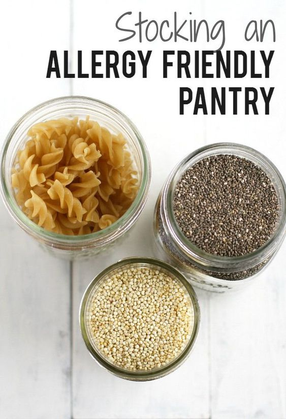 How to stock an allergy free pantry. Lots of great information for those who are new to eating gluten free, dairy free, nut free, and top 8 free.