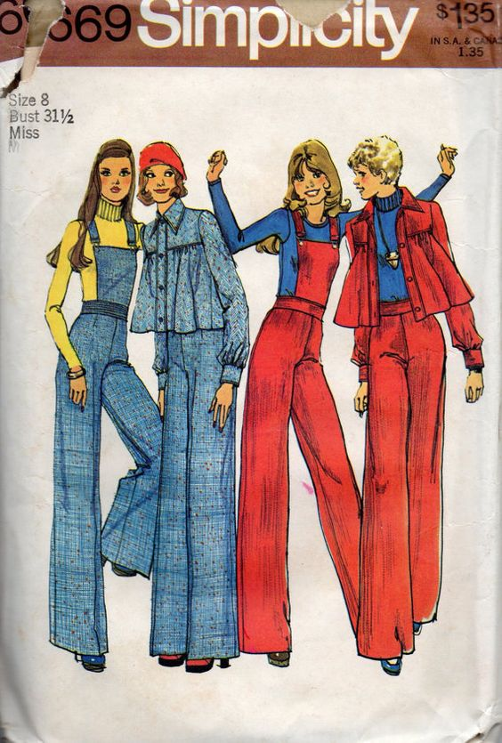 1970s Simplicity 6669 Misses Unlined Flared Jacket and Wide Leg Pants with Detachable Bib womens vintage sewing pattern by mbchills