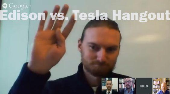 Thomas Edison vs. Nikola Tesla Google+ Hangout VIDEO - http://1sun4all.com/clean-energy-videos/thomas-edison-vs-nikola-tesla-google-hangout-video/