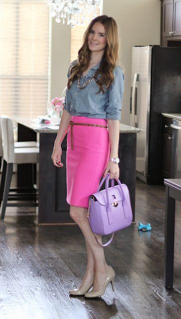 hot pink pencil skirt   chambray | FASHION | Pinterest | Hot pink ...