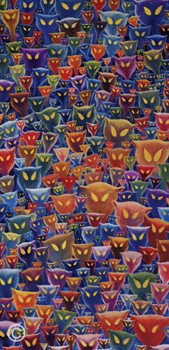 "DR. SEUSS THEODOR GEISEL ""Plethora of Cats"". He spent years on this painting. Every time he passed by it, he would add another cat face."