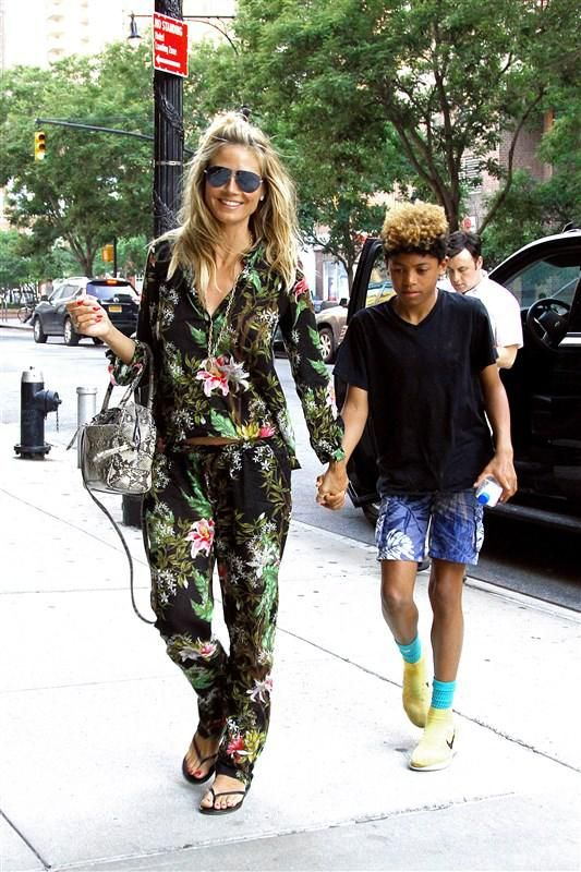 Heidi Klum rocks a floral jumpsuit while out and about with her son Henry Samuel in New York City.