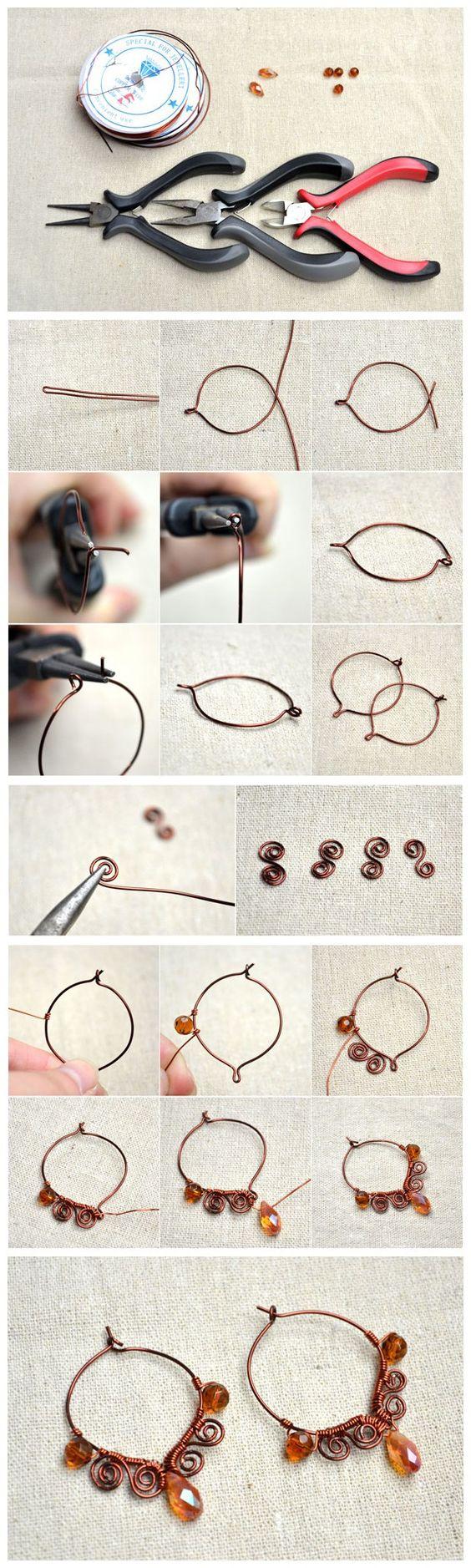 как сделать сережки из проволоки и бусин