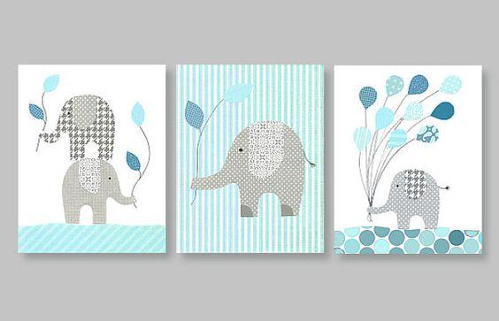 Elephant baby nursery decor Balloon children by SweetPeaNurseryArt, $38.00