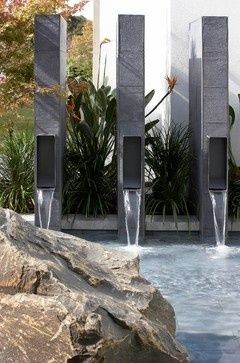 Contemporary landscape in Sydney by Dean Herald-Rolling Stone Landscapes modern fountain, pool fountain, metal fountains, vertical fountains, contemporary fountains