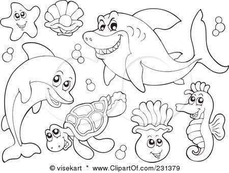 Vector Animals Ocean Animals Coloring Pages Free Sea Creatures Colouring Pages