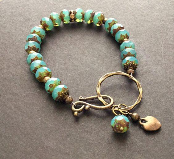 Aqua Picasso Czech Glass Beaded Bracelet