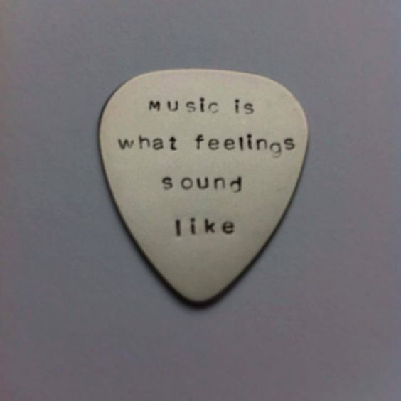 Hand stamped personalised metal plectrum - Music is what feelings sound like - Music Quote