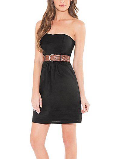 GUESS Britt Strapless Poplin Dress | GuessFactory.com