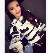 2015 nueva moda caliente otoño invierno Casual manga larga de rayas o-cuello flojo Tee Tops chica camiseta mujeres que envían libremente(China (Mainland))
