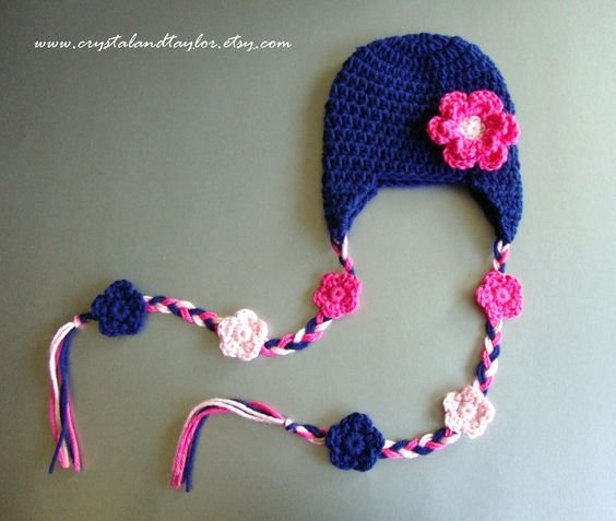 Baby Girl Crochet Hat with Ear Flaps and Flowers, Blue, Light Pink, and Hot Pink - Perfect for Photos. $15.00, via Etsy.: